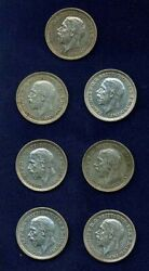 Great Britain Threepence Silver Coins1930 1931 1932 1933 1934 1935 And 1936