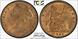 Great Britain Victoria 1882-h Penny, Choice+ Uncirculated, Certified Pcgs Ms64+