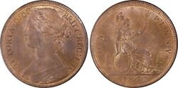 Great Britain Victoria 1872 Penny, Choice Uncirculated, Certified Pcgs Ms64-bn