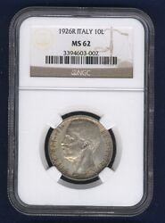 Italy Kingdom 1926-r 10 Lire Silver Coin Choice Uncirculated Ngc Certified Ms62