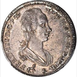 Italy Tuscany 1791 2 Paoli 16 Crazie Uncirculated And Rare Certified Pcgs Ms62