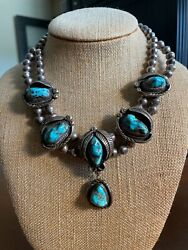 Vintage Navajo Turquoise Sterling Silver Squash Blossom Old Pawn Bead Necklace