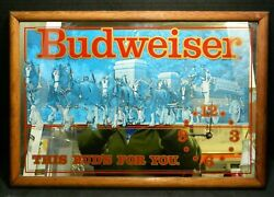 Vintage Budweiser Clydesdale This Budand039s For You Mirror Clock 19 X 13 V. Good