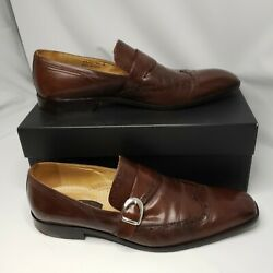 Mercanti Fiorentini Mens Wingtip Loafers Shoes Brown Leather With Buckle 11 M