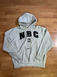 Nike Nbc Network Olympic Hoodie Center Swoosh Sz Xl Gray Embroidered Vtg