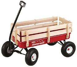 Wood Mountain Wagon Handle For Kids Children Toy Pull Cart Vintage Buggy Tires