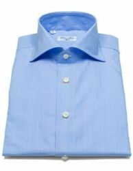 Cesare Attolini Shirt In Light Blue With Glencheckmuster And Shark Collar/reg
