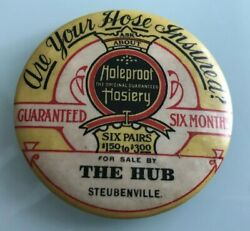 1900 The Hub Holeproof Hosiery Are Your Hose Insured Advertising Pocket Mirror