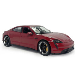 124 Scale 2019 Porsche Taycan Turbo S Model Car Diecast Collectible Vehicle Red