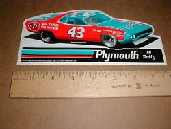 Richard Petty 1972 Plymouth Road Runner Stp Oil Filter Racing Decal Sticker New
