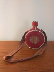Vintage Folk Art Leather Covered Glass Flask Bottle Canteen 18cms Tall