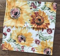Pottery Barn Watercolor Sunflower Pillow Cover Yellow 20x20 Sq Spring Botanical