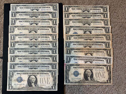 19 Pc Lot Funny Back Silver Certificates 1928a/b G-vg