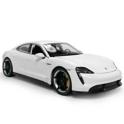 124 2019 Porsche Taycan Turbo S Model Car Diecast Collectible Vehicle White