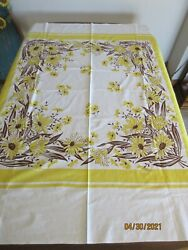 Vintage Nashua Queen Anne Printed Tablecloth Yellow Daisies Flowers 53 X 63