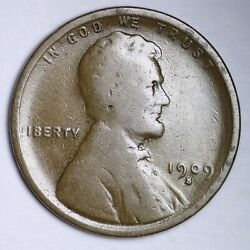 1909-s Lincoln Wheat Small Cent Choice Vg Free Shipping E131 Tlf