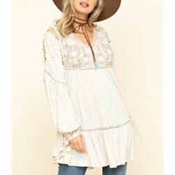 Free People Much Love Embroidered Tunic Swing Top Boho Oversized Salt Nwt Xs