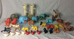 Vintage Fisher Price Little People Zoo And Farm Animals Plastic Hong Kong Elephant