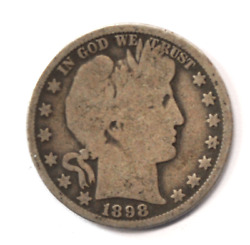 1898 O 50c Barber Silver Half Dollar Fifty Cents Us New Orleans