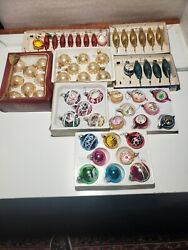 Vintage Lot Of 56 1950s And 60s 70s Glass Teardrop Christmas Tree Ornaments W Box.