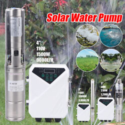 3and039and039 4 Farm Ranch Solar Submersible Water Pump Bore Hole Deep Well Pump 36/110v