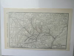 Original Vintage Map Of The Central Of Georgia Railway 1910