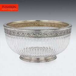 Antique 20thc French Empire Solid Silver And Glass Bowl Paris C.1900