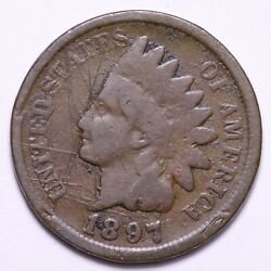 1897 1 In The Neck Indian Head Cent Penny Vg Free Shipping E559 Zm