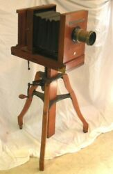 Antique Century No.5 Camera W/ Stand And Portrait Lens Series A F-5 6 1/2 X 8 1/2