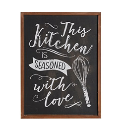NIKKY HOME Kitchen Wall Art Decor Wood Framed Chalkboard Poster Print with is x