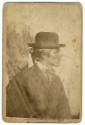 Steamboat Frank In Jacket Western Bow Tie And Bowler Hat Carte-de-visite Profile