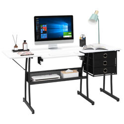 Sewing Craft Table Shelves Storage Home Computer Desk Multipurpose And 3 Drawers