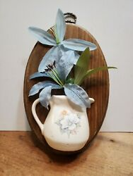 Vintage Wall Hanging Accent Half Planter on Wood Plaque Litho Print on Ceramic