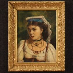 Portrait Of A Young Neapolitan Painting Oil On Canvas Framework 20th Century