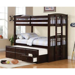 Coaster Kensington Twin Over Twin Bunk Bed With Trundle Understorage Cappuccino