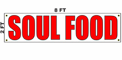 Soul Food Banner Sign 2x8 For Restaurant Food Truck Bbq Stand Trailer
