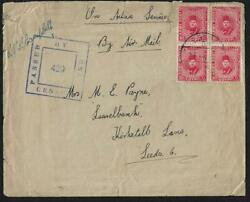 Uk Gb Egypt 1941 King Farouk Army Stamps In Block Of 4 Field Post Censored Activ