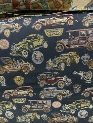 """vintage look classic cars tapestry upholstery fabric 54"""" wide by the yard"""