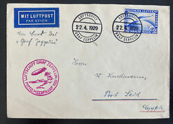 1929 Germany Graf Zeppelin Lz 127 Flight Airmail Cover To Port Said Egypt