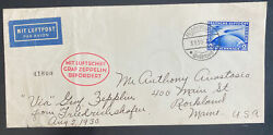 1930 Germany Graf Zeppelin Lz 127 South America Cover To Roshland Me Usa C38