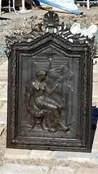 Beautiful Rare Antique Intricate 3d Metal Ornate Grecian Lady Wood Wall Cabinet
