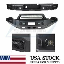 Front + Rear Bumper Guard W/ Led D-ring Shackle Winch Plate For Dodge Ram 13-18
