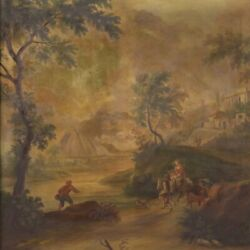 Large Landscape Painting Oil On Canvas Antique Style Framework 20th Century 900