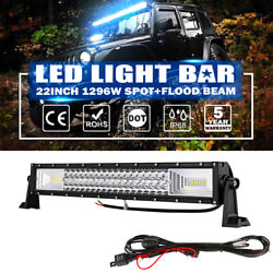 22 Inch 1296w Tri-row Led Work Light Bar Combo Offroad Pickup Truck Driving 20
