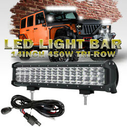 14 450w Tri Row Led Light Bar Combo Beam Offroad For Jeep Ford Pickup Truck 15