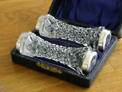 Lovely Pair Antique 1915 Boxed Silver Tipped Knife Rests By Henry Clifford Davis