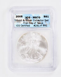 2005 Silver Eagle And 1/10oz Gold American Eagle Icg Ms70 - Set Of 2 Coins