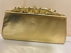 GOLD EVENING BAG OR CLUTCH PURSE W CHAIN STRAP FAUX LEATHER BLACK LINING $8.50