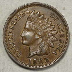 1903 Indian Cent Almost Uncirculated Original Type Coin 0111-01