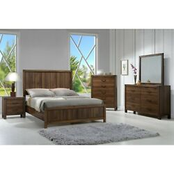 4-pc Storage Bedroom Set Panel Bed High Headboard Queen Size Brown Finish Wood